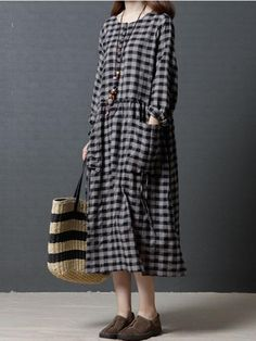 c13dca4e3017c Casual Loose Plaid Big Pockets Women Dresses