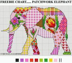 Cross Stitch Lovely Patchwork elephant cross stitch pattern from the Cross Stitching Guild Free Cross Stitch Charts, Cross Stitch Love, Counted Cross Stitch Patterns, Cross Stitch Designs, Cross Stitch Embroidery, Embroidery Patterns, Patchwork Patterns, Elephant Cross Stitch, Unicorn Cross Stitch Pattern