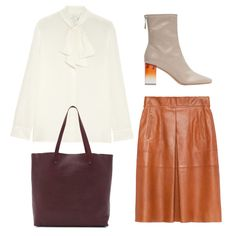 For the office, pair an ivory silk pussy-bow blouse with a camel leather skirt, chunky grey ankle boots and oxblood leather tote