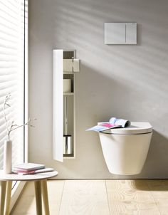 Asis shelving from Emco Bad. Photography courtesy of Emco Bad. Emco Bad, Mini Bad, Modern Small Bathrooms, Toilet Brushes And Holders, Bad Inspiration, Small Bathroom Storage, Interior Design Magazine, Bathroom Toilets, Minimalist Bathroom