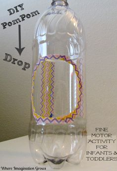 Pompom drop fine motor activity for infants & toddlers using a recycled bottle. An engaging learning activity for young children. Fine Motor Activities For Kids, Motor Skills Activities, Gross Motor Skills, Sensory Activities, Infant Activities, Sensory Tools, Toddler Play, Toddler Preschool, Toddler Crafts