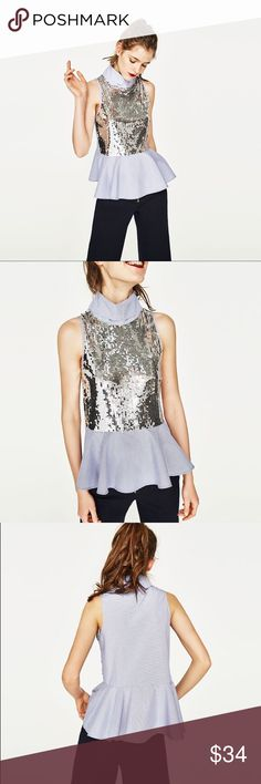 Zara Sleeveless Contrast Sequin Peplum Top This sequin front top features a high neck and peplum ruffle bottom. So versatile, it can be worn straight from the office to after work cocktails! Looks great paired with a high ponytail and black pants. Zara Tops