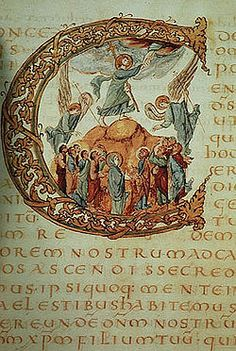 Drogo Sacramentary, ca. 850: a historiated initial 'C' contains the Ascension of Christ. The text is in gold ink.
