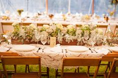 Long Wood Box With Flowers and Greenery | Love the white lace with bare tables | LFF Designs | www.facebook.com/LFFdesigns