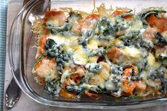 5 or less: Zoete aardappelschotel met spinazie