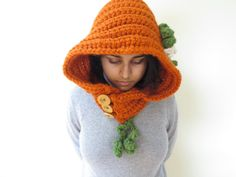 Pumpkin Hoodie Made to Order by MinervaKnits on Etsy