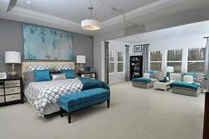 Gray White And Pops Of Teal Bedroom Idea