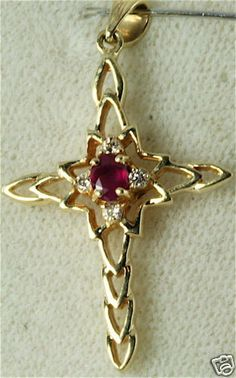 NEW 14K GOLD RUBY DIAMOND CROSS PENDANT FOR A NECKLACE #Pendant