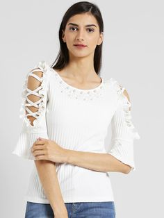231b2a8794e599 Buy Texco Women Off White Self Design Top - Tops for Women 4446638
