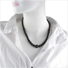 Small to Big Black Agate Bead Necklace Neck Decoration Jewelry for Lady Girl Woman