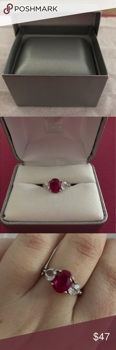 Sterling Silver Lab Created Ruby Ring Size 7 Super sparkly sterling silver lab created ruby ring. Size 7. Cross posted. ***Make a reasonable offer, bundle items for a discount!*** jcpenney Jewelry Rings
