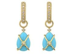 Jude Frances 18K Yellow Gold and Pear Shaped Cabochon Turquoise Earrings from the Lisse Collection.