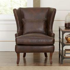 Birch Lane Solomon Leather Wingback Chair | Birch Lane