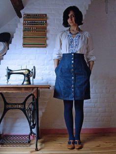 Collette's  Beignet skirt pattern made in denim