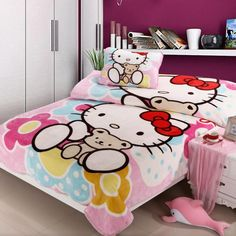 *** Hello Kitty and Her Bear Flannel Queen Bed Quilt Cover Set ***
