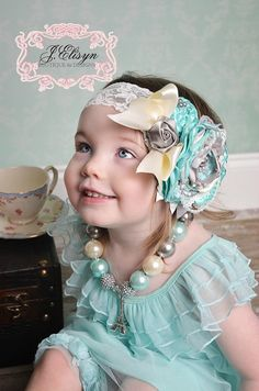 aqua ivory silver vintage headband and necklace by JElisynBoutique, $45.00