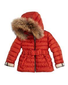 Z1A3V Burberry Fur-Trimmed Bow-Belt Puffer Coat, Bright Russet, 4Y-14Y