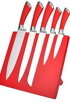 6 Piece Stainless Steel Knife Set Red Magnetic