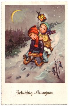 Dutch Vintage Postcard - Gelukkig Nieuwjaar (Happy New Year). Date stamp shows it was posted in 1964