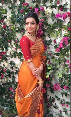 Likes, 13 Comments - Kajal Indian Wedding Outfits, Indian Outfits, Indian Attire, Indian Wear, Indian Style, Indian Beauty Saree, Indian Sarees, Kajal Agarwal Saree, Stylish Sarees