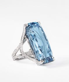 Extremely special ring with a 54.73ct Brazilian aquamarine with diamonds set in platinum