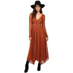 Free People Guinevere Lace Maxi Dress (Bronze) Women's Dress (645 BRL) ❤ liked on Polyvore featuring dresses, long-sleeve maxi dresses, long sleeve dress, brown maxi dress, lace dress and v neck maxi dress