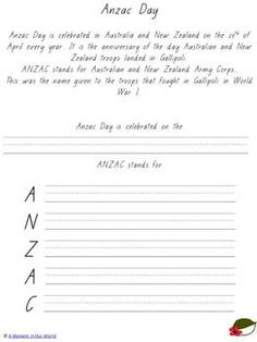 This Anzac Day printable pack introduces children ages 5 - 10 to what happened to the Australian and New Zealand forces in their battle at Gallipoli during World War I. Anzac Day, Educational Crafts, Syllable, Article Writing, Writing Activities, Reading Comprehension, Simple Living, Troops, Sentences