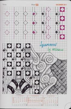 Rhodia WebPlanner; Squaremond tangle pattern; Life Imitates Doodles