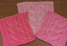 I Heart You washcloths - free pattern