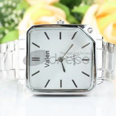White dial without numeric steel strip watch