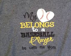 Baseball Mom  - Favorite Player - Baseball Love - My Heart Belongs - Baseball Player - Gift For Mom - Team Mom Shirt - Game Day Shirt by fabuellaboutique. Explore more products on http://fabuellaboutique.etsy.com