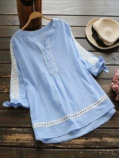 2017 Fashion Blue Vertical Striped Blouse Summer Bowknot Half Sleeve Hollow Crochet Lace Woman Shirt V Neck Loose Tops Camisas Stylish Dresses For Girls, Stylish Dress Designs, Designs For Dresses, Girls Dresses Sewing, Pakistani Fashion Casual, Pakistani Dresses Casual, Pakistani Dress Design, Kurta Designs Women, Blouse Designs