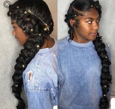 Both-Side-Braided-Hairdo-Accessorized-with-Golden-Beads Most Stylish Prom Hairst. - Both-Side-Braided-Hairdo-Accessorized-with-Golden-Beads Most Stylish Prom Hairstyles for Black Girl - Black Girl Braids, Girls Braids, Side Braids, Fishtail Braids, Long Braids, Hair Afro, Hair Wigs, Undercut Hair, 4b Hair