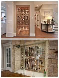 This article will help you create your future wine cellar. Whether in a closet or cold room you can create a place for storing wine in a home wine cellar Glass Wine Cellar, Home Wine Cellars, Wine Cellar Design, Sitges, Bar Behind Couch, Cave A Vin Design, Bar Shelves, Wine Wall, Wine Storage