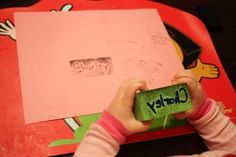Block + puffy paint = DIY stamp for kids