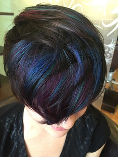 Peacock inspired color by colorist @jenlspil Jen Busch at Fresh Salon in…