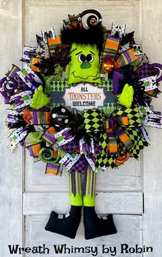 Halloween Frankenstein Wreath, Fall Wreath, Monster Wreath, Halloween Decor, Frankenstein Decor, Halloween Welcome Wreath, Halloween Door Skeleton Decorations, Halloween Table Decorations, Halloween Door, Halloween Crafts, Halloween Wreaths, Witch Wreath, Wreath Fall, Monster Wreath, Witch Decor