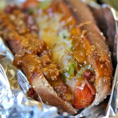 Oven Baked Turkey Chili Cheese Dogs make for great Super Bowl Food!