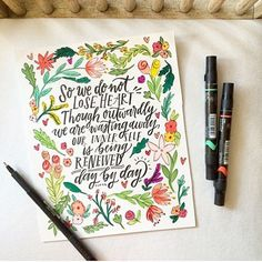 We are absolutely smitten with @bysarahkim! This girl knows how to paint TRUTH! She reminds us that even though our bodies are wasting away...our inner self is being renewed day by day. What a beautiful truth that is! Ps. Those flowers  #shepaintstruth