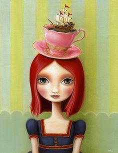 Girl, teacup, schooner - Long Trip To Tea Time- LARGE print 11x14 on premium matte - alice in wonderland inspired art by Marisol Spoon. $30.00, via Etsy.