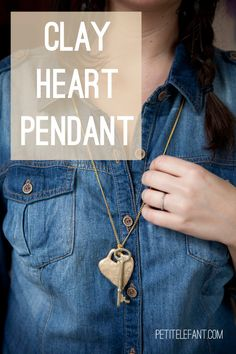 Tutorial to make a clay pendant heart necklace-inspiration for gifts for my kids to make, salt dough hearts