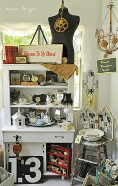 """pretty layered displays...""""stack it high and let it fly"""" idea...separate yellow shelves.  set on tables or desks or???"""