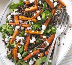 Puy lentil, spiced roast carrot & feta salad - simple to prepare and bags of flavour. Just as good as leftovers and easy to scale up for a crowd. Bbc Good Food Recipes, Veggie Recipes, Salad Recipes, Vegetarian Recipes, Cooking Recipes, Healthy Recipes, Quick Recipes, Puy Lentil Recipes, Veggie Food