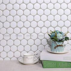 Sweet Cookie Circle Ceramic Mosaic Matt White Diameter 48x6mm #tiles #mosaic #pennyroundmosaic #circlemosaic #walltiles #homedecor