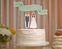 Wedding Cake Topper Set - Custom Cake Banner No. 2 / Bride and/or Groom Cake Toppers