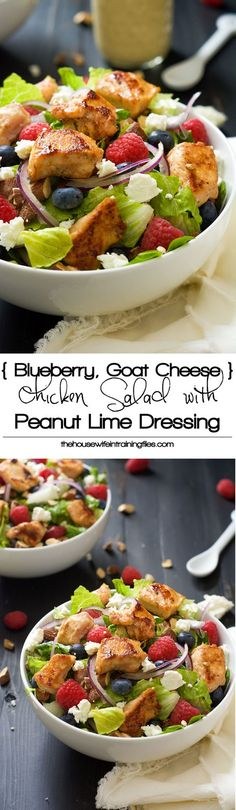 A hearty Chicken Salad with Peanut Dijon Dressing that is filled with fruit, creamy goat cheese, smoked almonds - #glutenfree