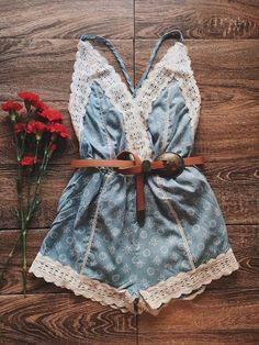 Denim Festival Romper | Boho Festival Outfit, Gypsy Fashion, Boho Romper, Festival Fashion