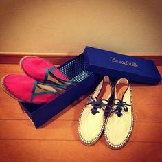 履きやすさバツグンのエスパドリーユ。配色、箱もかわいい♪