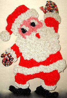 "1970s RARE Vintage Melted Plastic Popcorn Santa Claus Christmas Decoration 20"" tall"