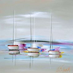 Douce marine Boat Drawing, Doors And Floors, Sailboat Painting, Boat Art, Palette Knife Painting, Nautical Art, Paintings I Love, Drawing Lessons, Painting Patterns